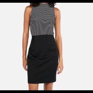 Express Black Pencil Skirt High Waisted Pintucked